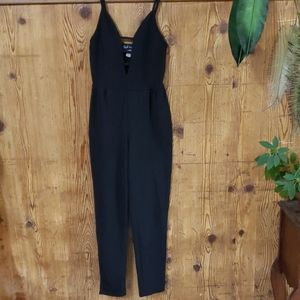 French Atmosphere black high rise jumpsuit small